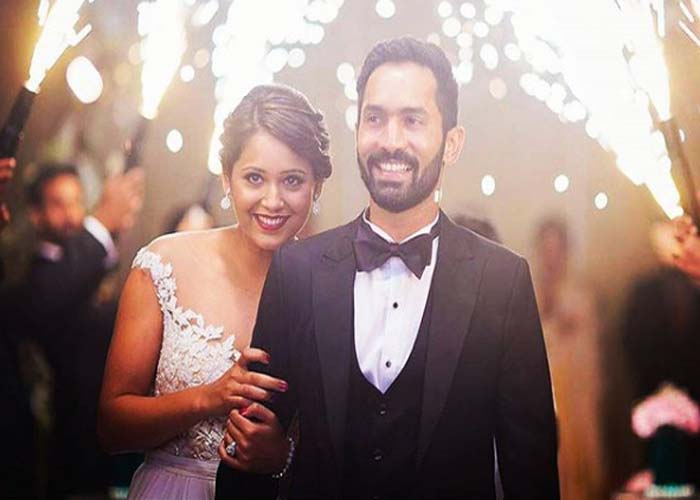 Dinesh Karthik With His Wife After One Month Of His Marriage Images