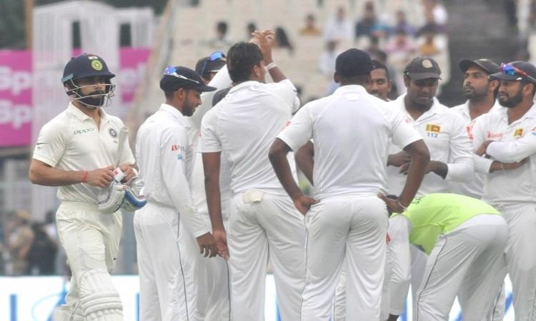 1st Test: Suranga Lakmal reduces India to 17/3 on rain-marred Day 1