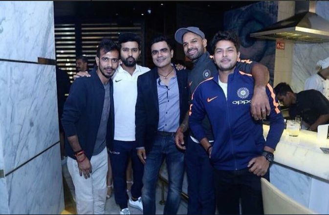 Indian Cricketers At Virat Kohlis Restaurent In Delhi Images in Hindi