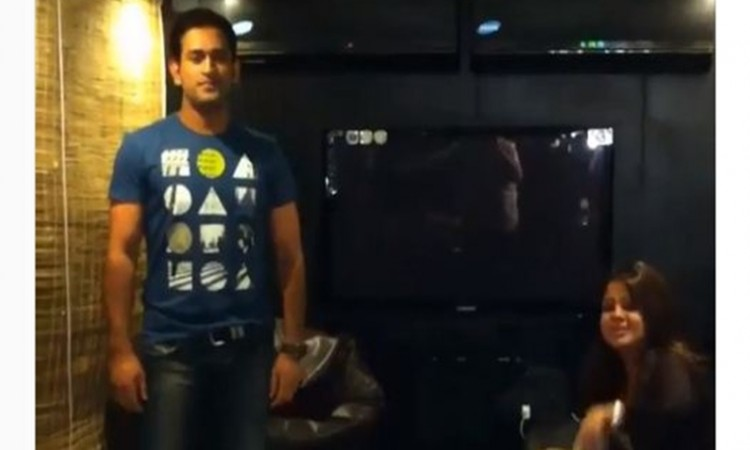 MS Dhoni dances on Desi Boyz wife Sakshi cannot stop laughing, watch video