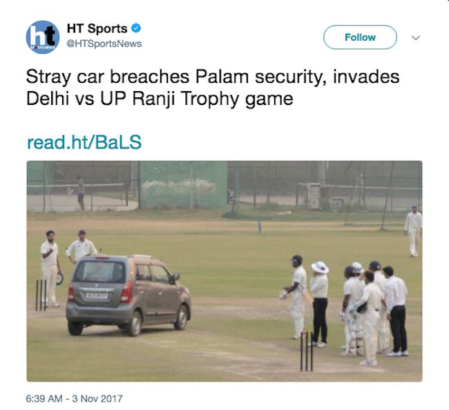 man drives onto the pitch in Delhi