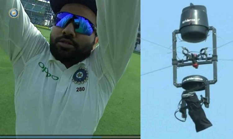 Rohit Sharma grabbed hold of the Spider-cam during fielding in 2nd test