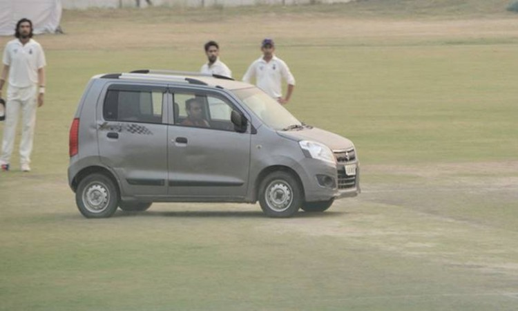 Delhi-UP Ranji tie halted as man drives into pitch