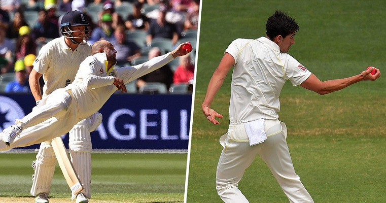 Nathan Lyon and Mitchell Starc superb catch