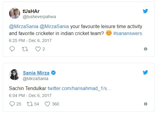 Sania Mirza names her favourite Indian cricketer