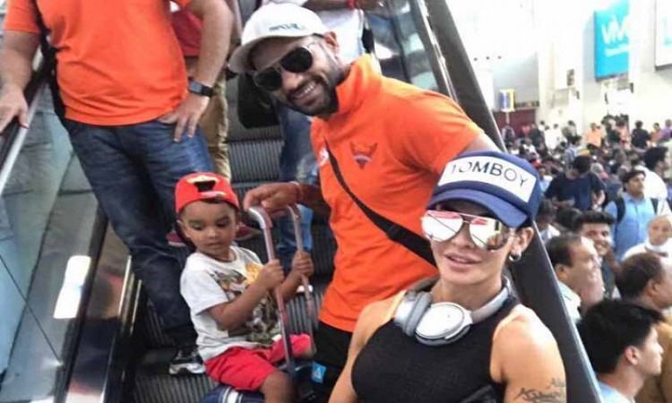 Shikhar Dhawan's wife, kids stopped in Dubai by airline