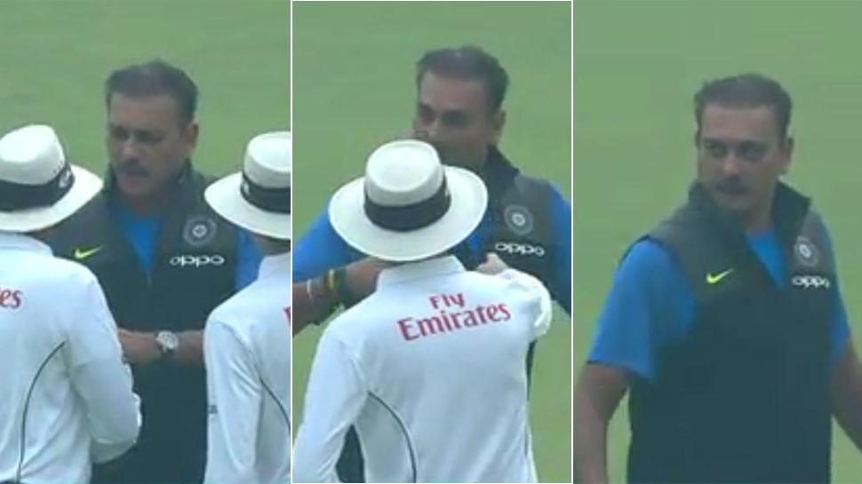 Furious Ravi Shastri confronts umpires in Delhi