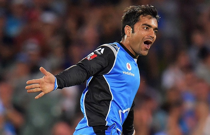 RASHID KHAN first player to take multiple wickets in each of his first 5 matches in BBL