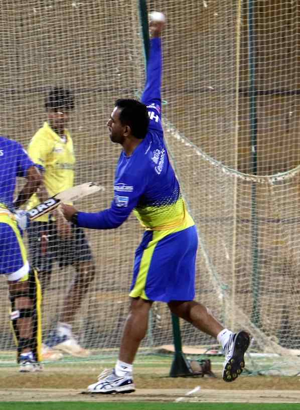 Dhoni Bowling(CSK Team Practice Session In Delhi) Images in Hindi