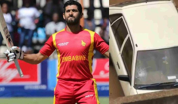 Sikandar Raza big sixes breaks a car window