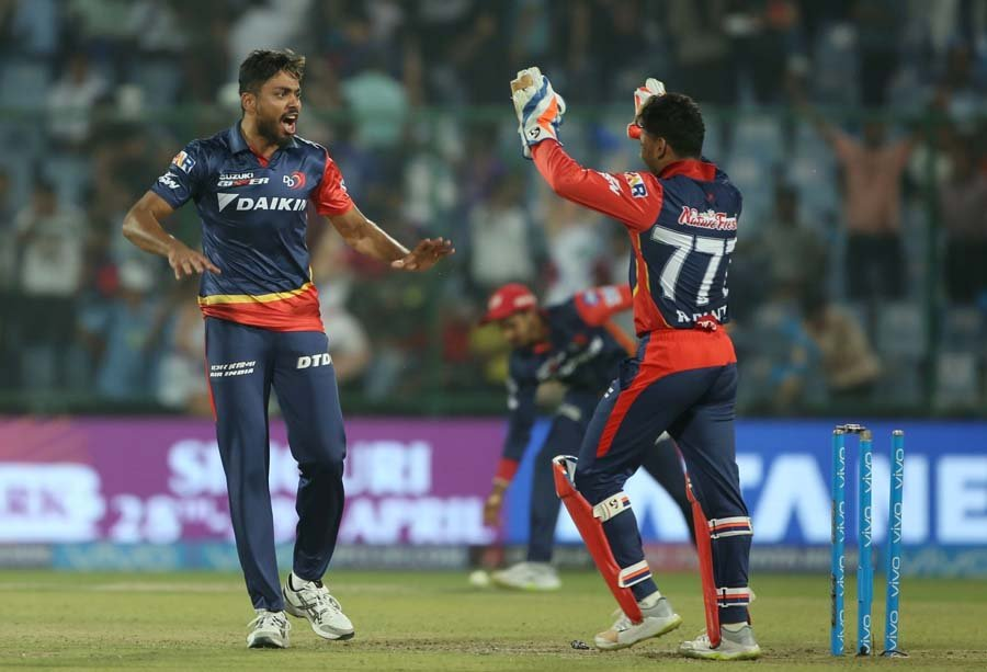 Delhi Daredevils Avesh Khan Celebrates Fall Of Andre Russells Wicket Images
