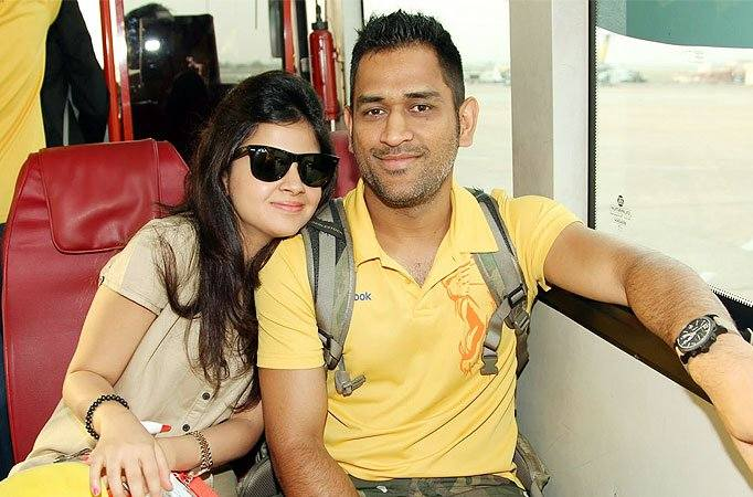 CSK Captain MS Dhoni And Wife Sakshi Images