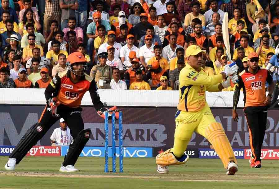 CSK Captain MS Dhoni In Action During An IPL 2018 Match With Sunrisers Hyderabad Images