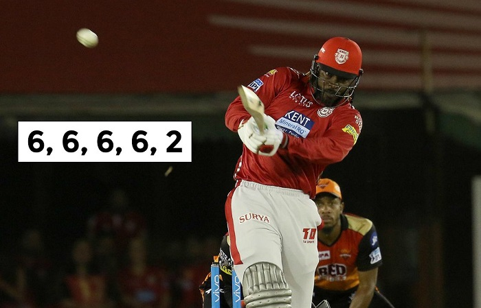 Chris Gayle hit 4 sixes in an over off Rashid Khan in T20s