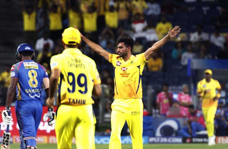 Image for Deepak Chahar Of Chennai Super Kings Celebrates Fall Of A Wicket During An IPL 2018 Match