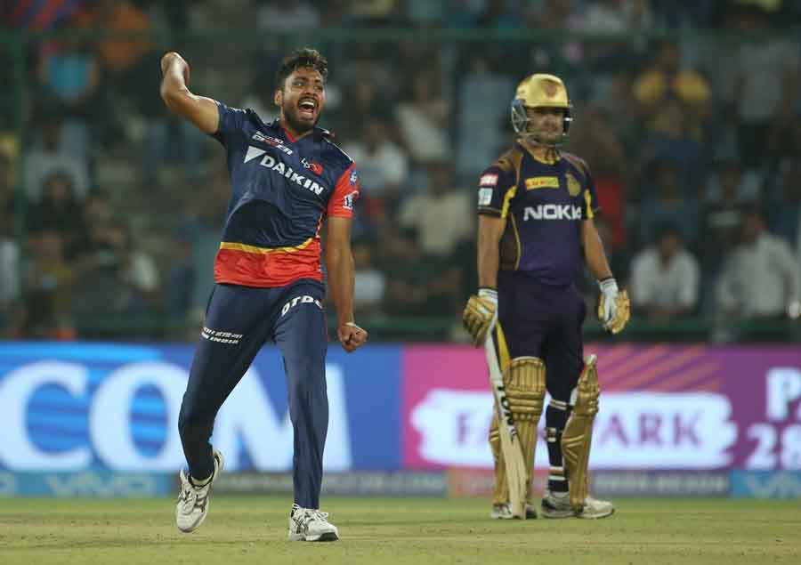 Delhi Daredevils Avesh Khan Celebrates Fall Of Andre Russells Wicket2 Images
