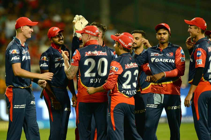 Delhi Daredevils Celebrate Fall Of Manan Vohras Wicket During An IPL 2018 Match Images