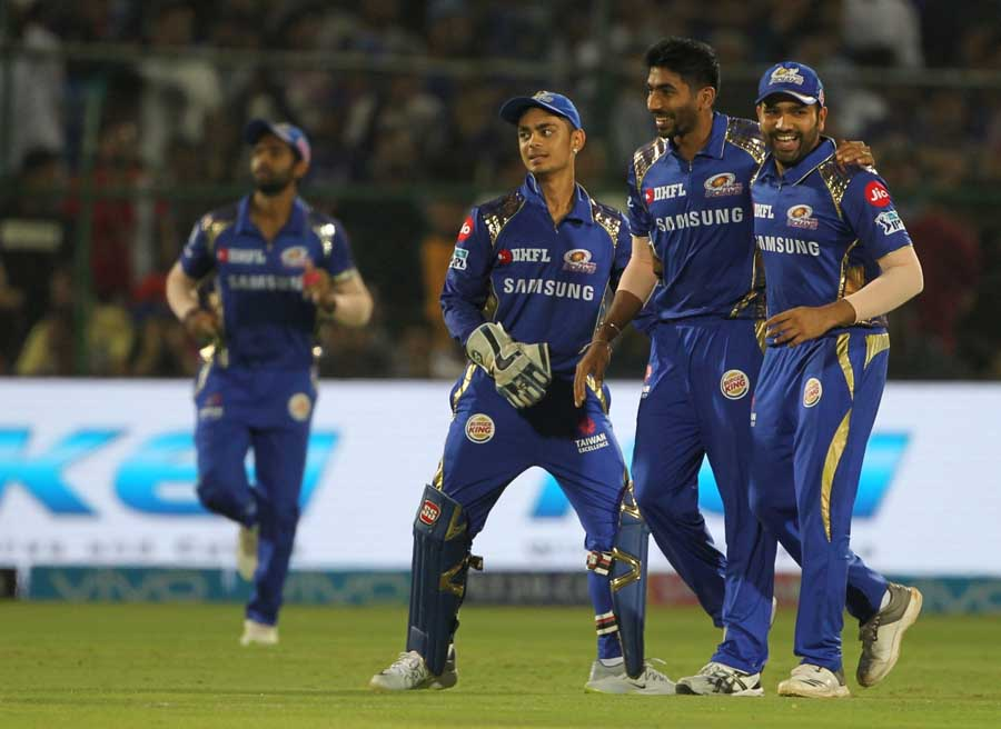 Jasprit Bumrah Celebrates Fall Of Wicket During An IPL 2018 Match At Sawai Mansingh Stadium In Jaipu in Hindi