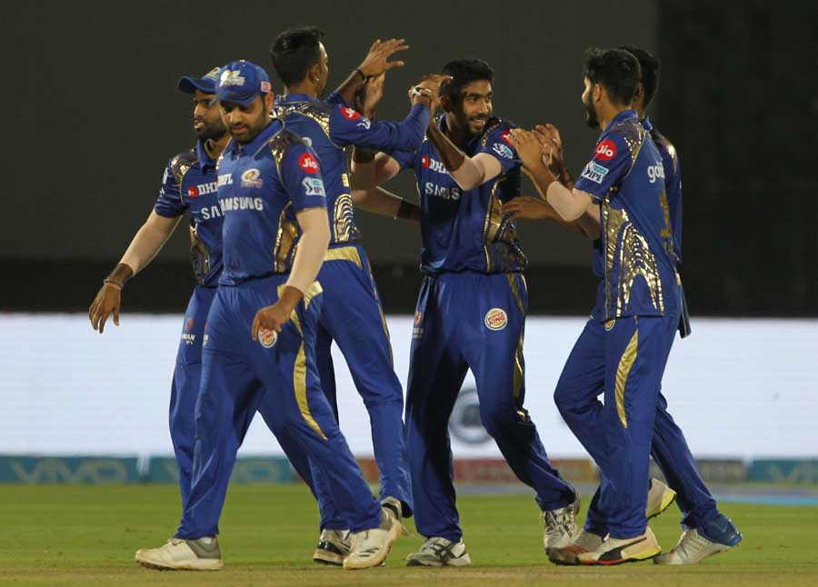 Jasprit Bumrah Of Mumbai Indians Celebrates Fall Of Sanju Samsons Wicket During An IPL 2018 Match Im in Hindi