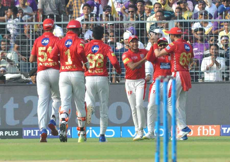 KXIP Players Celebrate Fall Of Sunil Narines Wicket During An IPL 2018 Match Images