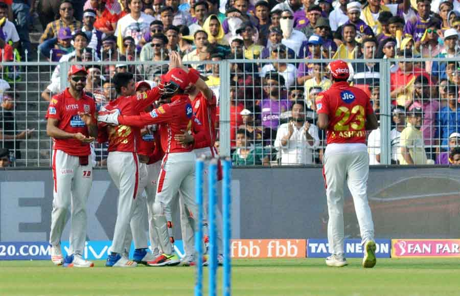 Kings XI Punjab Players Celebrate Fall Of Sunil Narines Wicket During An IPL 2018 Match Images