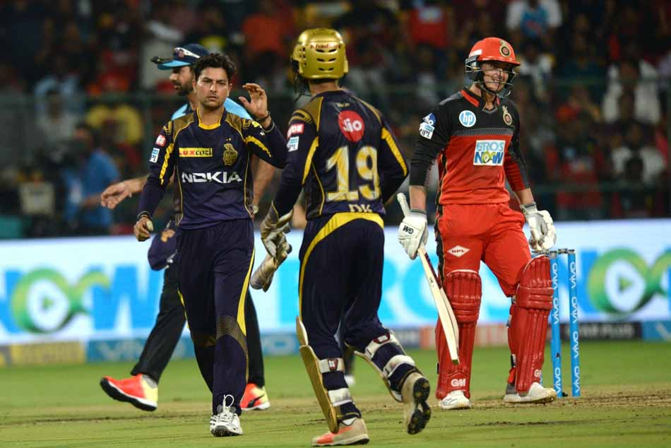 Kolkata Knight Riders Kuldeep Yadav Celebrates Fall Of Quinton De Kocks Wicket During An IPL 2018 Ma