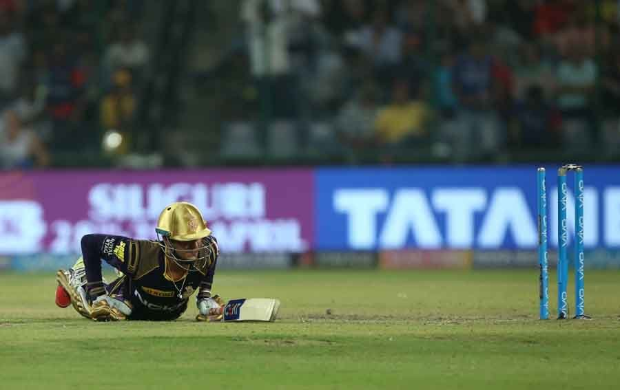 Kolkata Knight Riders Shubman Gill Gets Dismissed During An IPL 2018 Images