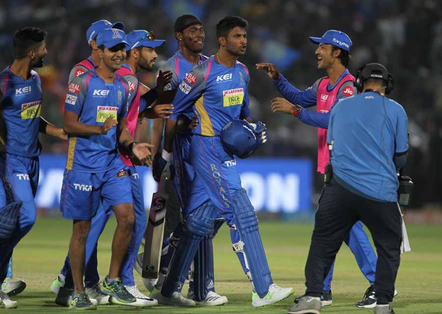 Krishnappa Gowtham Celebrates After Winning An IPL 2018 Images