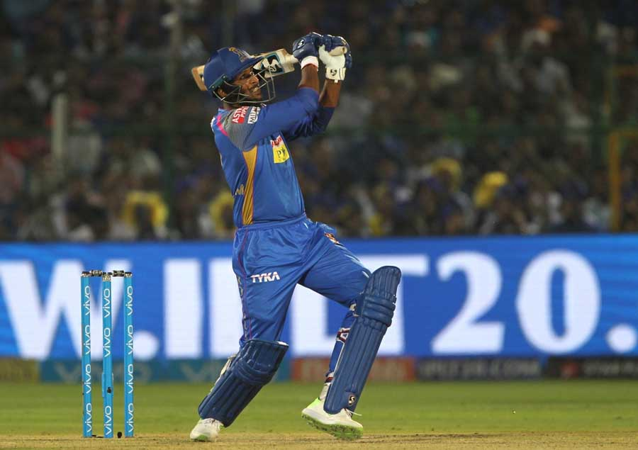 Krishnappa Gowtham In Action During An IPL 2018 Match Between Mumbai Indians And Rajasthan Royals Im