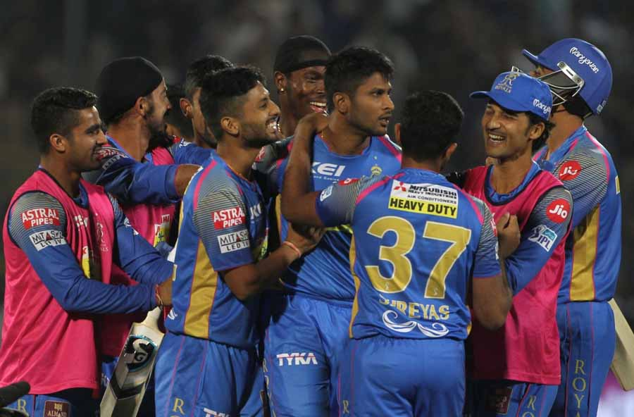 Krishnappa Gowtham Of Rajasthan Royals Celebrates After Winning An IPL 2018 Match Against Mumbai Ind