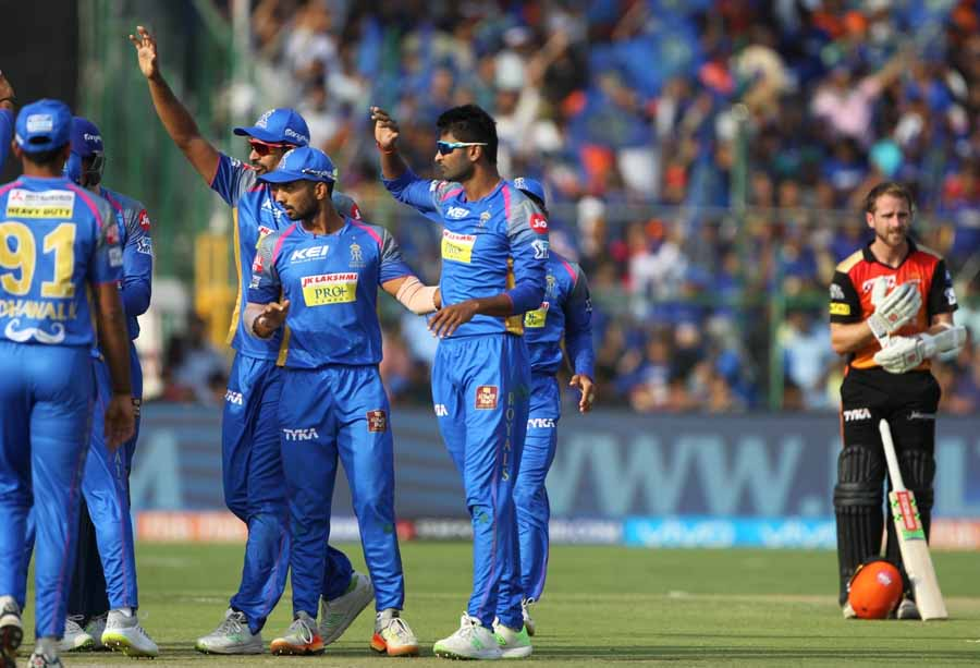 Krishnappa Gowtham Of Rajasthan Royals Celebrates The Fall Of Alex Haless Wicket Images