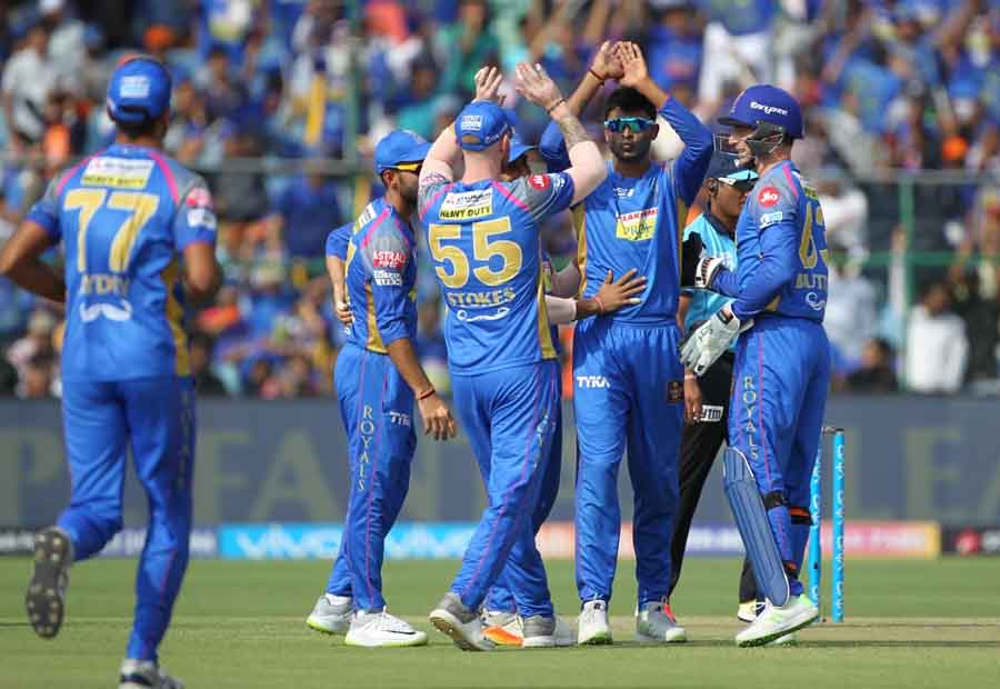 Krishnappa Gowtham Of Rajasthan Royals Celebrates The Fall Of Shikhar Dhawans Wicket Images