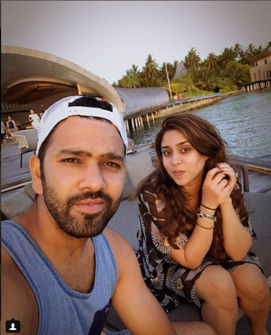 MI Captain Rohit Sharma With His WifeRitika Sajdeh Images