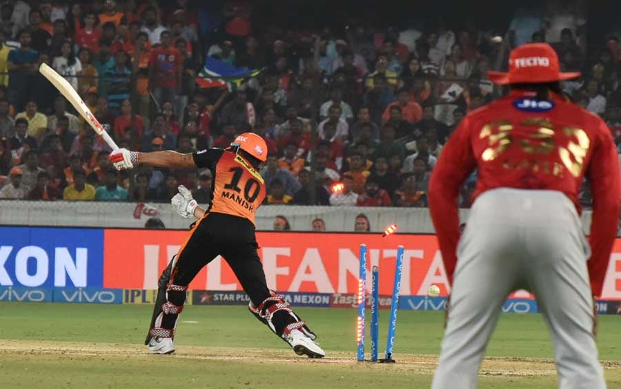 Manish Pandey Of Sunrisers Hyderabad Bowled Out By Kings XI Punjab By Ankit Rajpoot Images