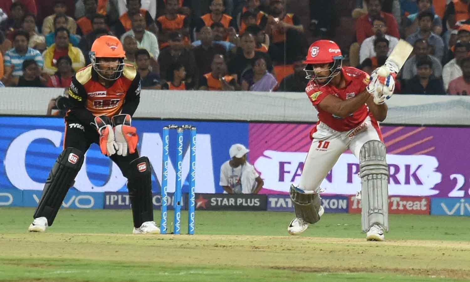 Mayank Agarwal In Action During An IPL 2018 Match Images