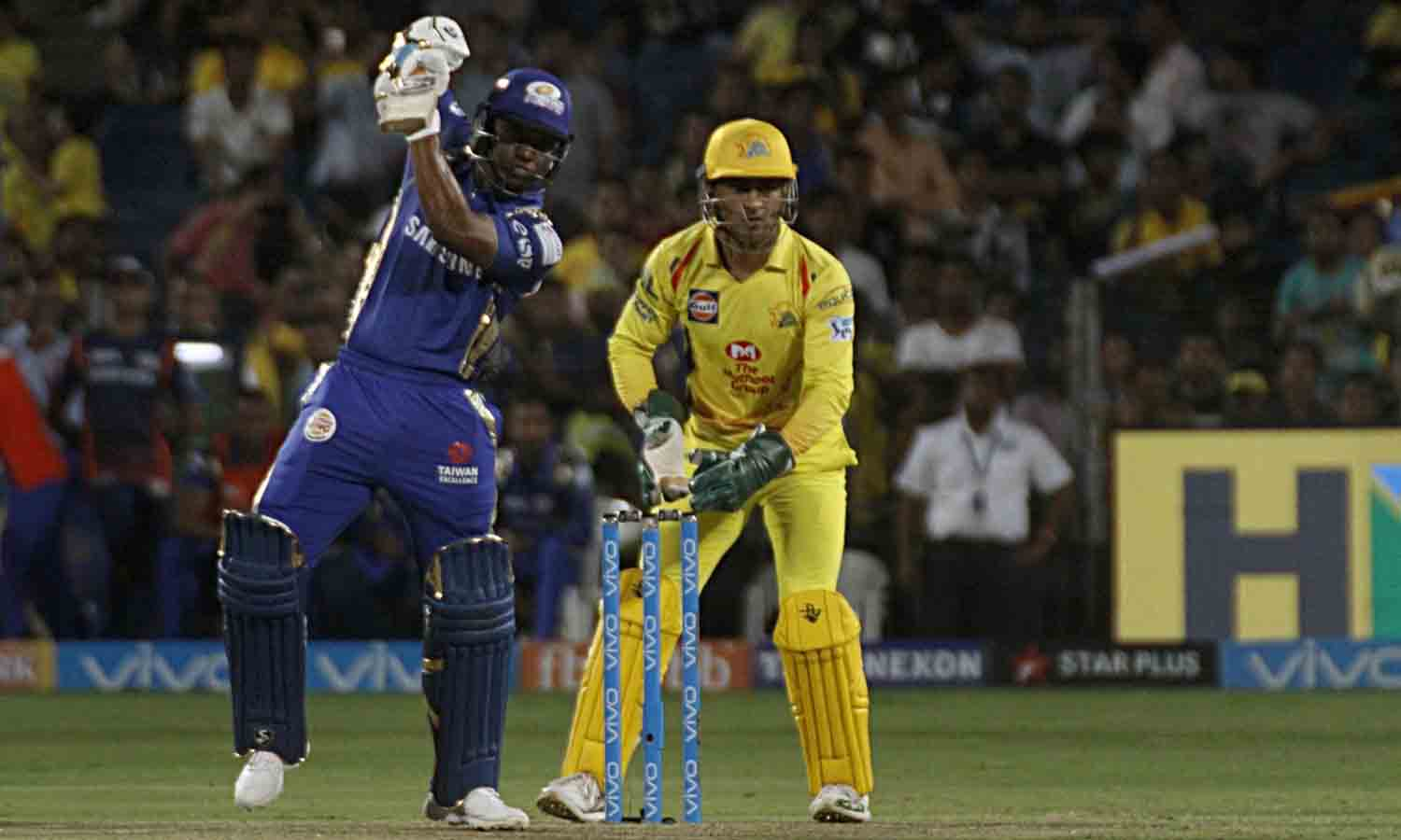 Mumbai Indians Evin Lewis In Action During An IPL 2018 Images