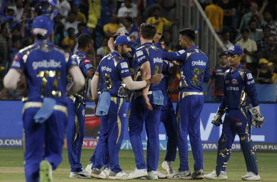 Mumbai Indians Celebrate Fall Of MS Dhonis Wicket During An IPL 2018 Images