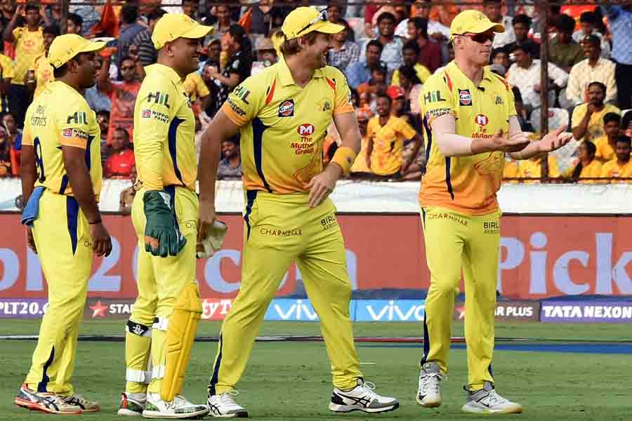 Players Of CSK Celebrate After Their Teammate Deepak Chahar Took The Wicket Images