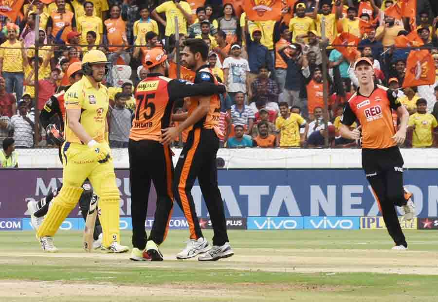 Players of SH Celebrate The Dismissal Of Shane Watson During an IPL 2018 Images