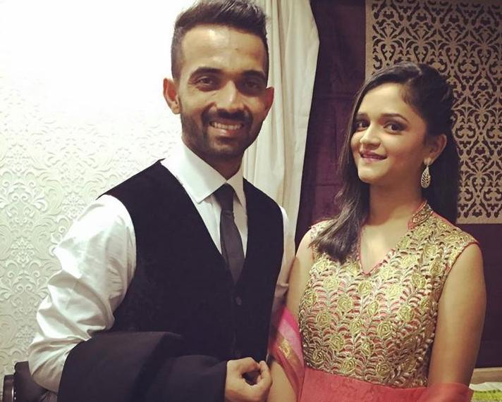 RR Captain Ajinkya Rahane With His Wife Radhika Dhopavkar Images in Hindi