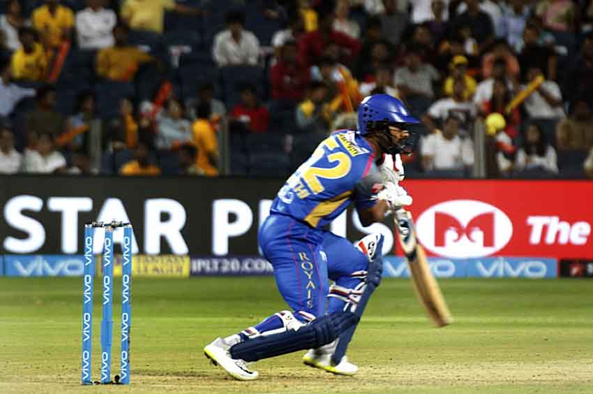 Image for Rahul Tripathi Of Rajasthan Royals In Action During An IPL 2018 Match