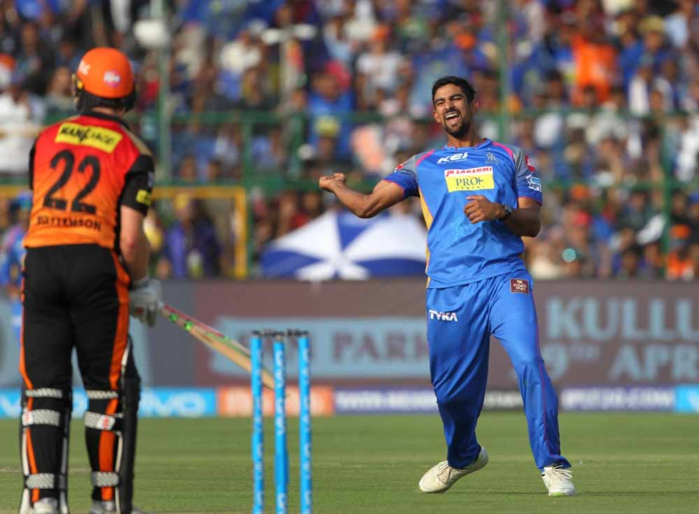 Rajasthan Royals Ish Sodhi Celebrate Fall Of Kane Williamsons Wicket During An IPL 2018 Match Images