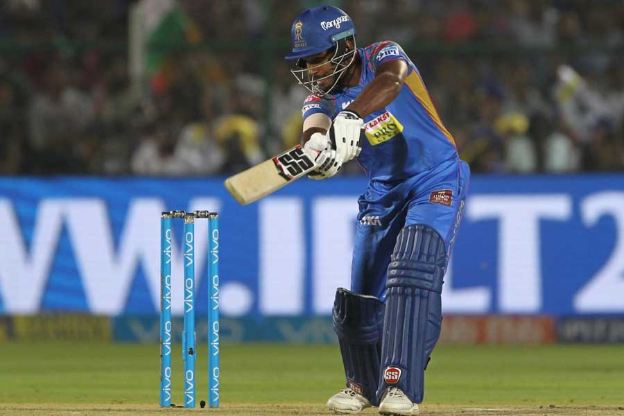 Sanju Samson Of Rajasthan Royals In Action During An IPL 2018 Match Images in Hindi