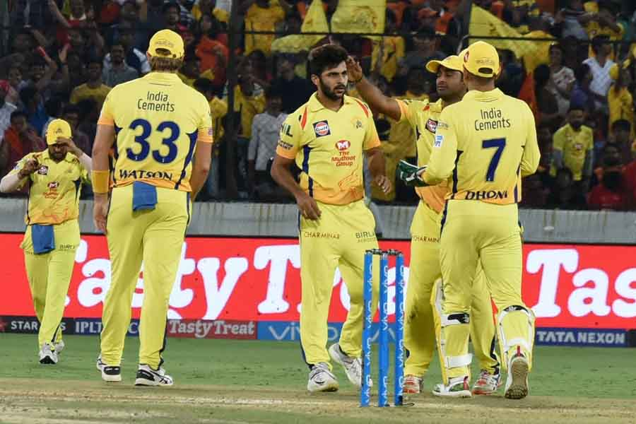 Shardul Thakur of Chennai Super Kings Celebrates Fall of A Wicket Images