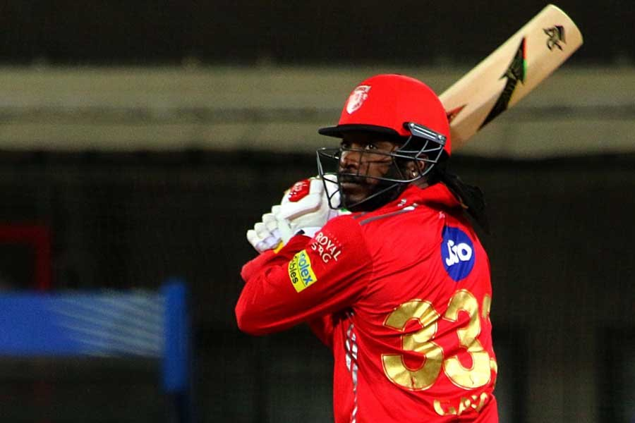 Chris Gayle Of Kings XI Punjab In Action During An IPL 2018 Images in Hindi