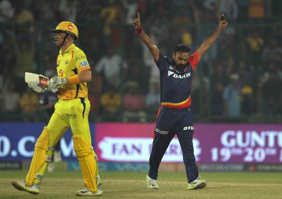 Delhi Daredevils Amit Mishra Celebrates Fall Of Sam Billings Wicket During An IPL 2018 Match Between
