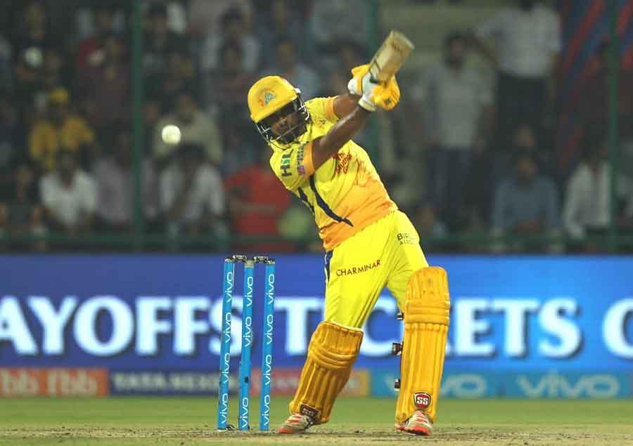 Ambati Rayudu Of Chennai Super Kings In Action During An IPL 2018 Match Between Chennai Super Kings