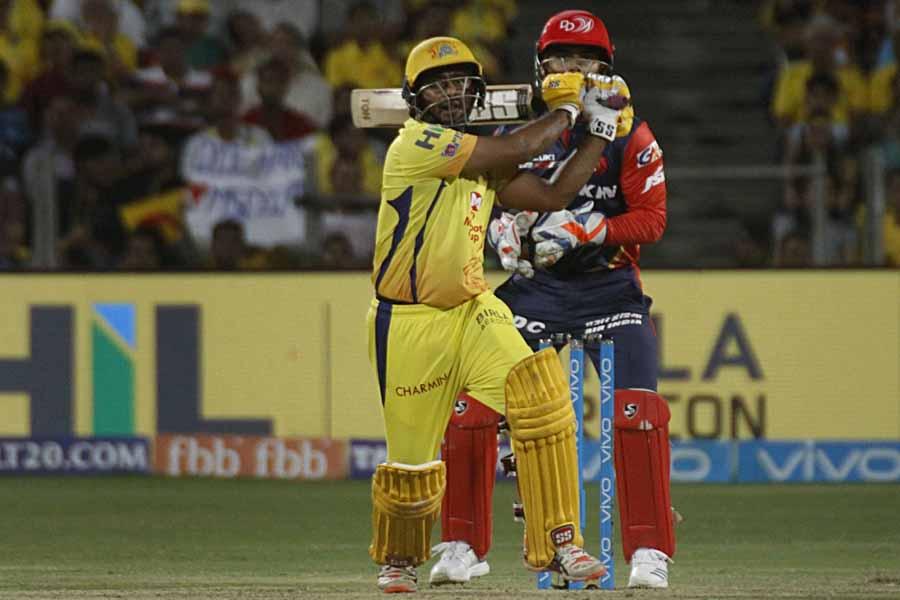 Ambati Rayudu Of Chennai Super Kings Plays A Shot During An IPL 2018 Images in Hindi