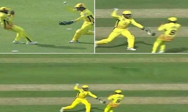 VIDEO मैच के दौरान धोनी का दिखा ऐसा मजाकिया अंदाज, जडेजा को गेंद से मारने की करी कोशिश Images