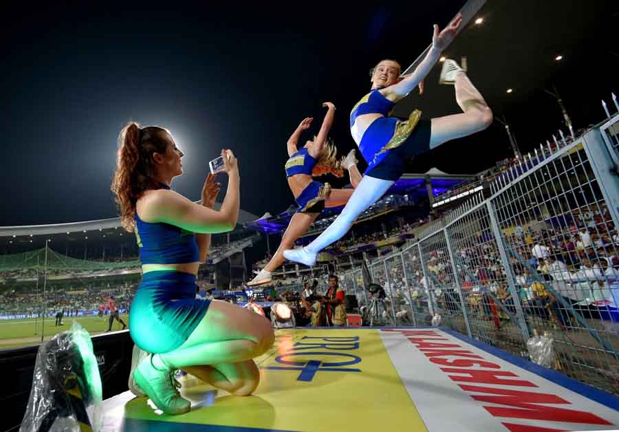 Cheer Leaders During An IPL 2018 Match Between Kolkata Knight Riders And Rajasthan Royals